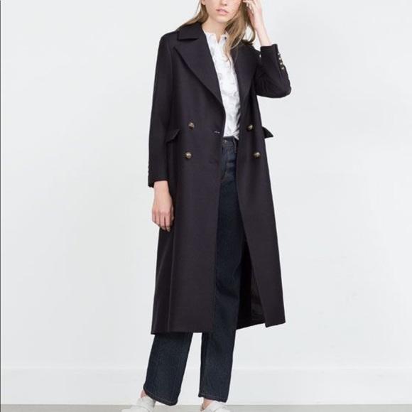 Zara Long Military Coat with Metallic Buttons